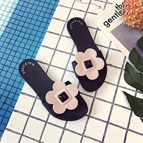 Lolittas Ladies Flat Flower Slippers Sandal for Women Size 2-7 ,Beach Summer Outdoor Non Slip Soft Embellished Open Toe Wide Fit Cushioned Shoes Blue vK5u0C9u