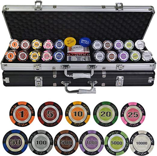 TX GIRL 500pcs / Set Sistemas De Texas Holdem Poker Chips Caso Conjunto con Metal Casino Fichas De Póker, Trigo Corona Poker Chips 14g / Pc Fichas De Arcilla De Colores: Amazon.es: