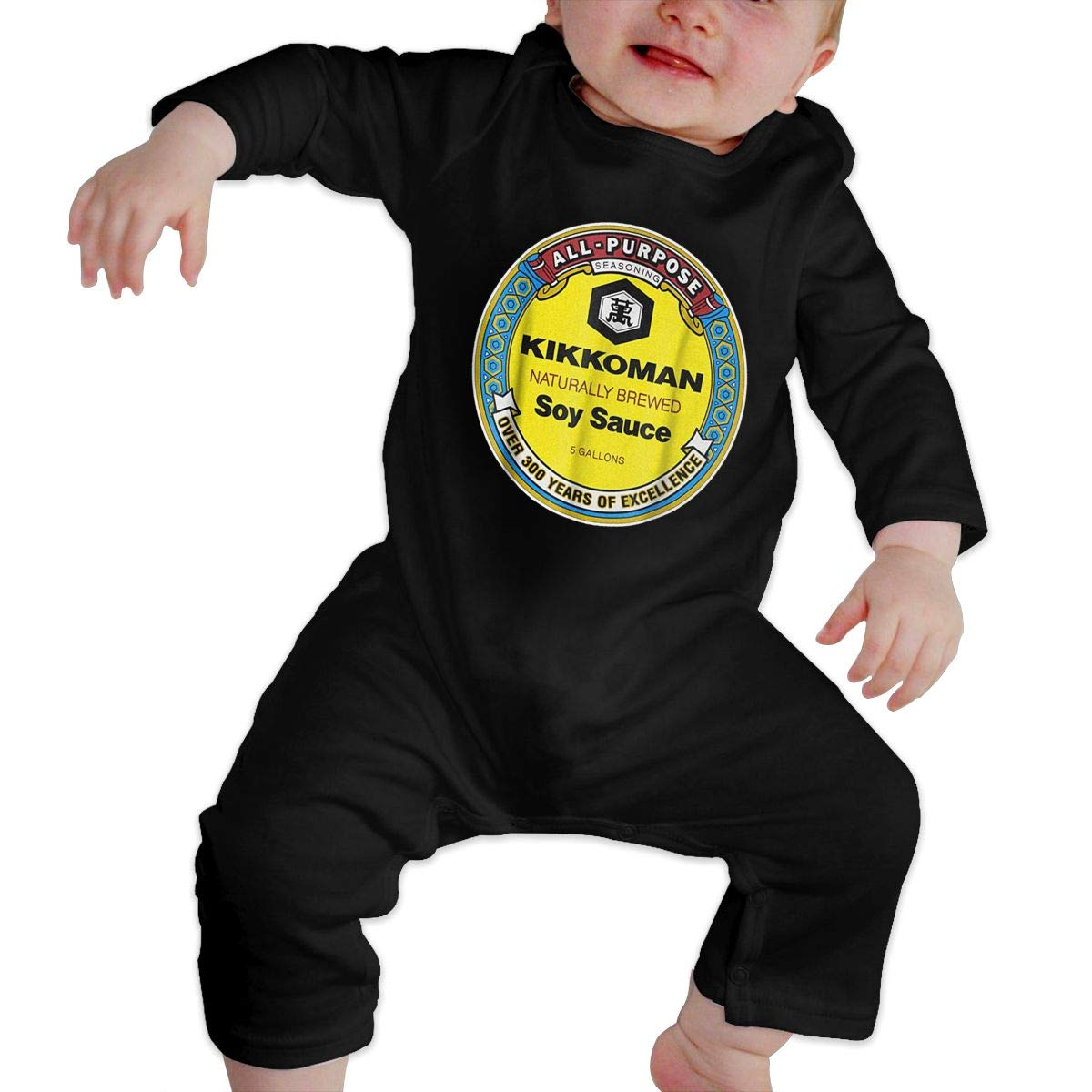 All Purpose Kikkoman Soy Sauce Printed Baby Girl Unisex Cotton Long Sleeve Jumpsuit Romper with Headband Infant Clothes