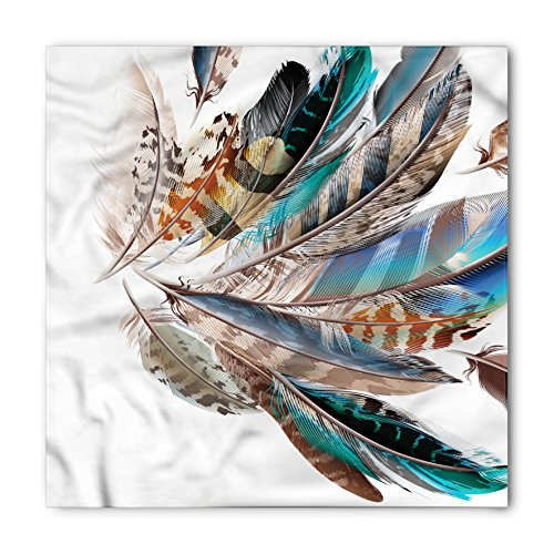 Ambesonne Feathers Bandana, Contour Feather Fashion, Unisex Head and Neck Tie