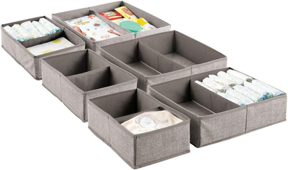 mDesign Soft Fabric Dresser Drawer and Closet Storage Organizer Set for Child/Kids Room, Nursery, Playroom, Bedroom - Rectangular Organizer Bins with Textured Print - Set of 6 - Linen/Tan