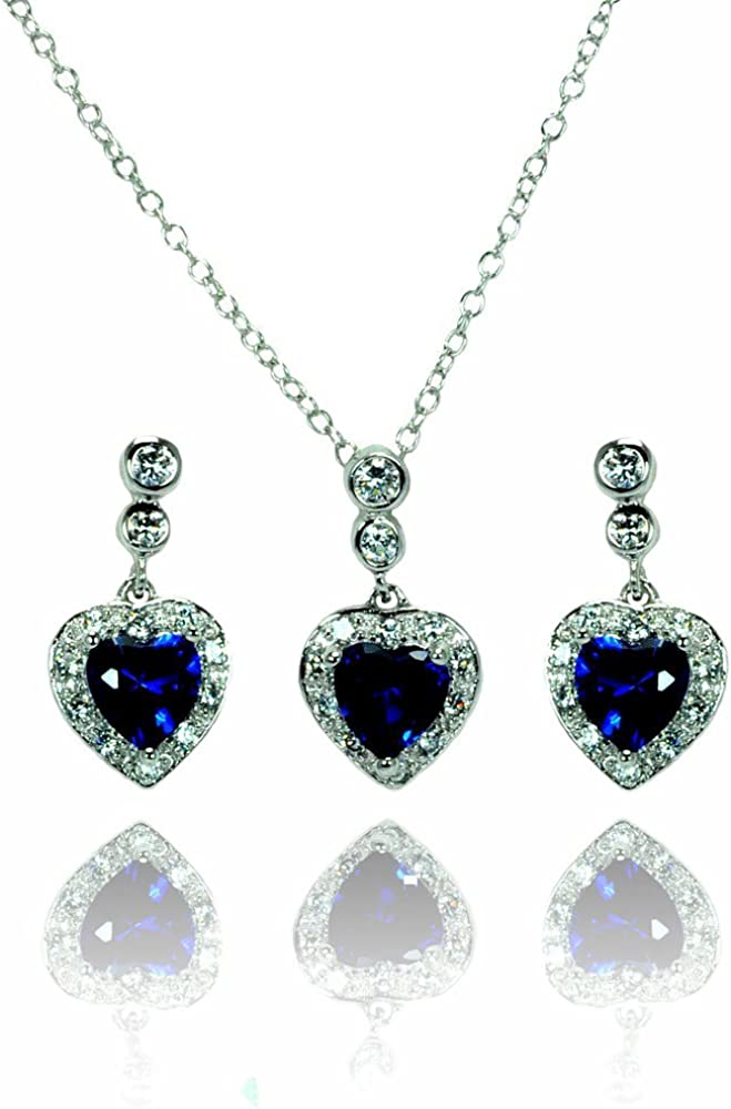 Sterling Silver Blue Color Heart CZ Dangling Stud Earring /& Necklace Set 16 2 Ext.