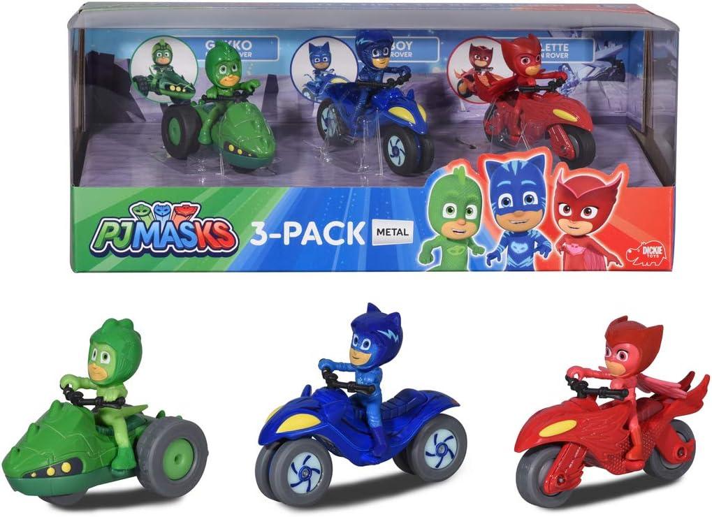 Dickie- PJ Mask 3 Motos de Juguete con Personaje, Multicolor (3143003)