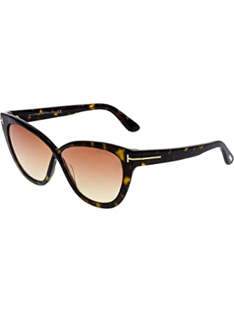 5651d0e475315 Tom Ford Arabella FT-511 52B Women Havana Brown Crossover T Logo Butterfly  Sunglasses at Amazon Women s Clothing store