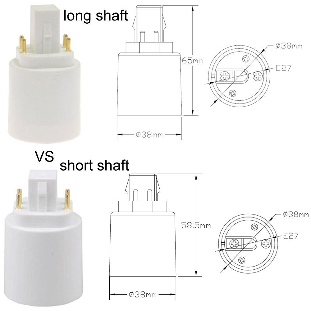 G24 to E27 E26 4-Pin LED Light Sockets Adapter, Light Bulb Socket, Bulb Base Adapter, Converters Lamp Holder (Pack of 5) by Xinyixing (Image #4)