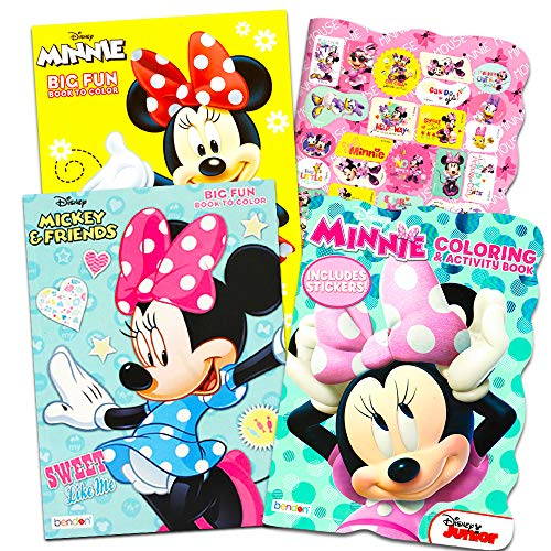 Disney Minnie Mouse Coloring Book Set -- 3 Jumbo Coloring Books with Stickers (Party Supplies Pack)