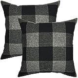 your smile retro farmhouse tartan plaid cotton linen decorative throw pillow case cushion cover pillowcase for sofa 18 x 18 inch set of 2 black