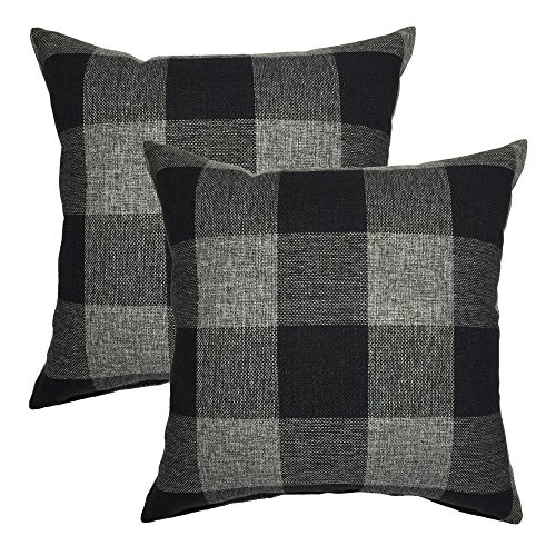 YOUR SMILE Retro Farmhouse Tartan Checkers Plaid Cotton Linen Decorative Throw Pillow Case Cushion Cover Pillowcase for Sofa 18 x 18 Inch , Set of 2 , (Tartan Pillow)