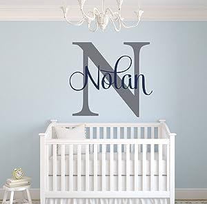 Custom Name Monogram Wall Decal - Nursery Wall Decals - Name Wall Decor