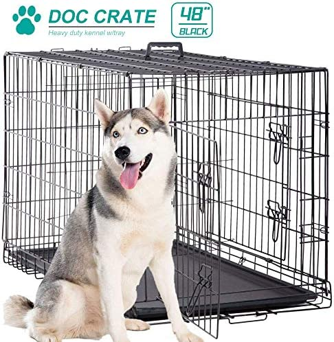 Dog Cage Large XXL Dog Crates for Large Dogs Folding Dog Kennels and Metal Wire Crates Pet Animal Segregation Cage Crate with Double-Door,Tray,Handle and Divider For Dog Training Indoor,48 Inches