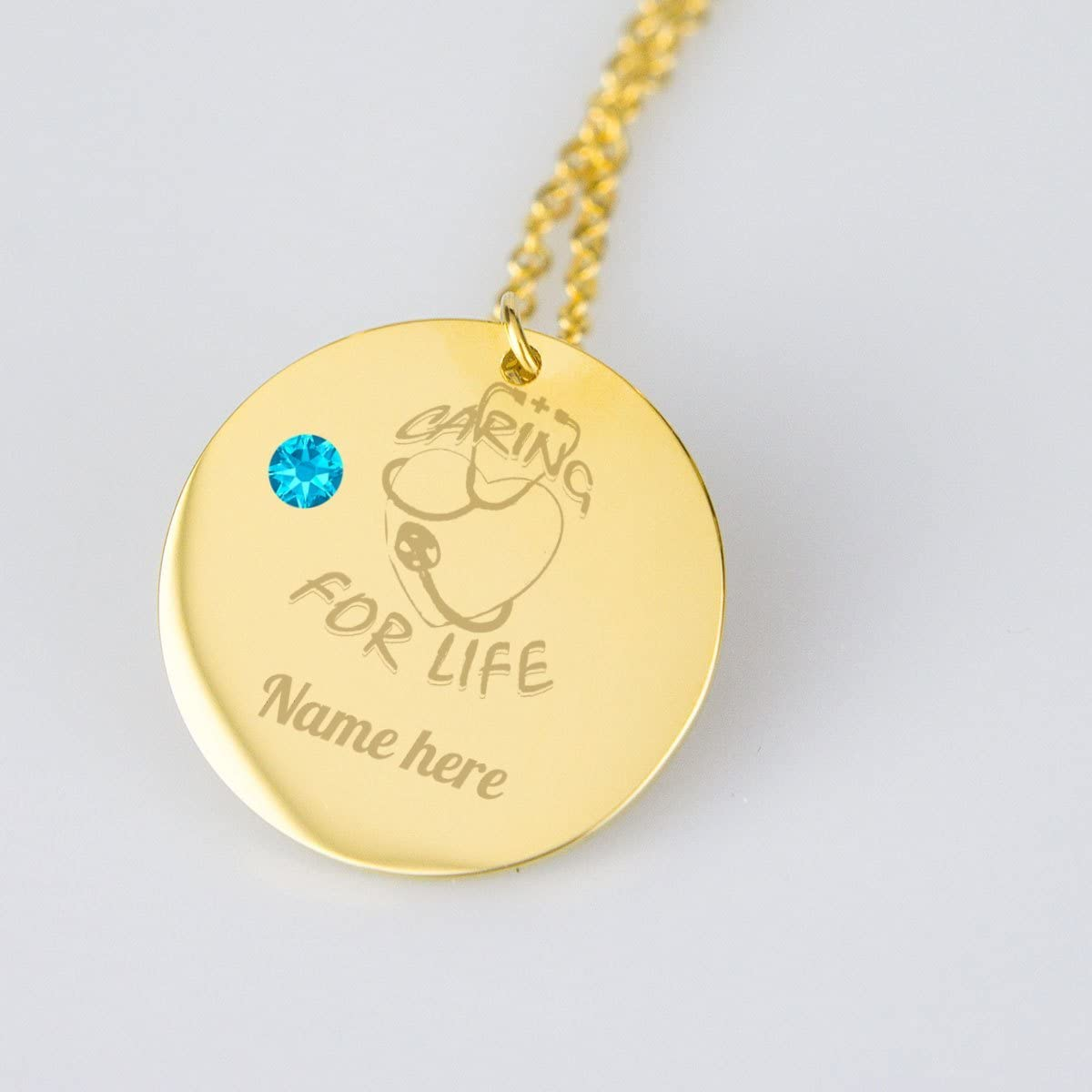 Perfectly U Designs Caring for life Nursing Personalized Necklace Medical with Birthstone