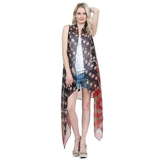 a10224724b48f Riah Fashion American Flag Print Cardigan - July 4 USA Star Stripe  Patriotic Lightweight Shawl Kimono