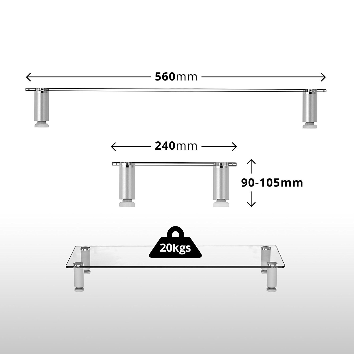 Duronic Dm052 1 Clear Glass Stand Riser For Pc Computer Amazon Co  # Rehausseur Tv Ikea