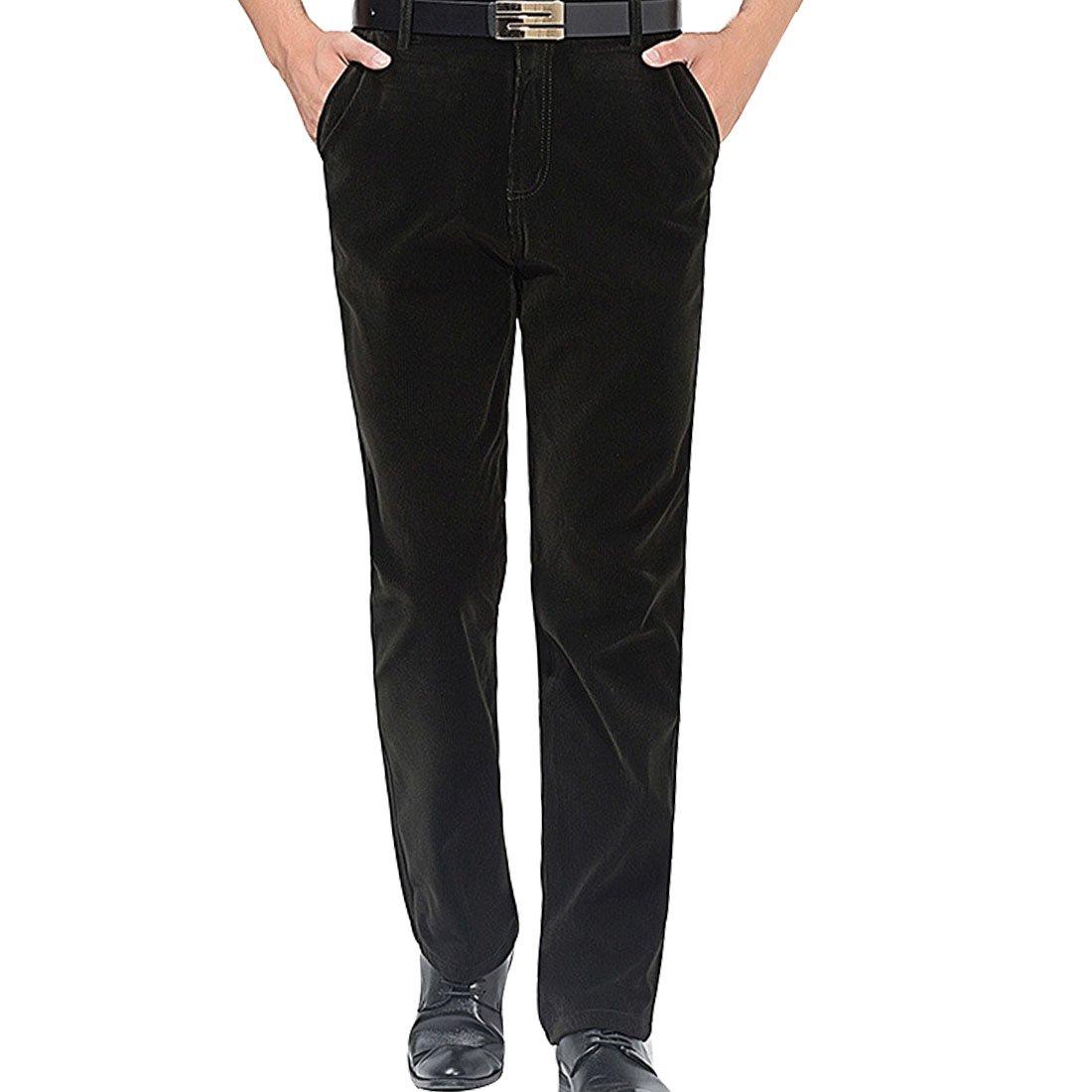 Hzcx Fashion Men's Corduroy Casual High Waist Relax Fit Classic Long Pants