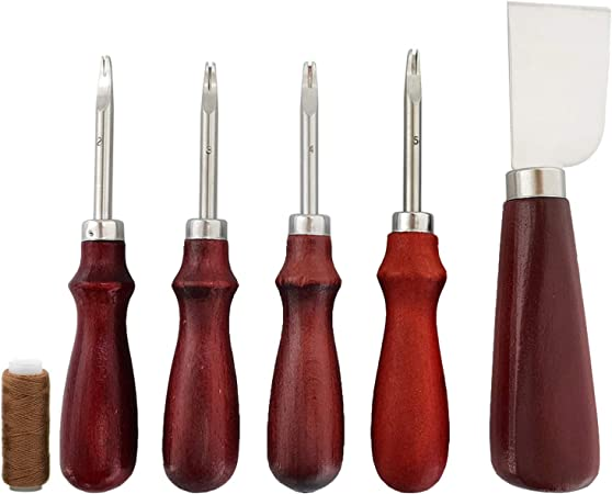 Hand Leather Grooving Tool for Leather Crafting Work 8 Pieces Edge Leather Beveler Cutting and Leather Edge Skiving DIY Craft Tool 1.5 mm, 1.2 mm, 1.0 mm, 0.8 mm