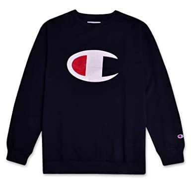 4107f33e Champion Mens Big and Tall C Logo Fleece Crew Neck Pullover Sweatshirt Navy  2X