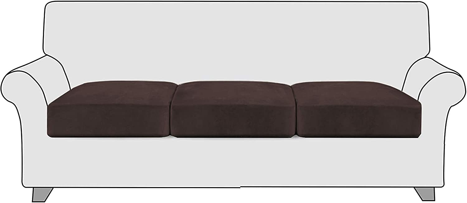 StangH Couch Cushion Covers 3 Pieces Stretch Velvet Sofa Seat Slipcovers Protector Pet Friendly Seat Cushion Sofa Covers for Chair / Loveseat Sofa, (3 Packs, Brown)