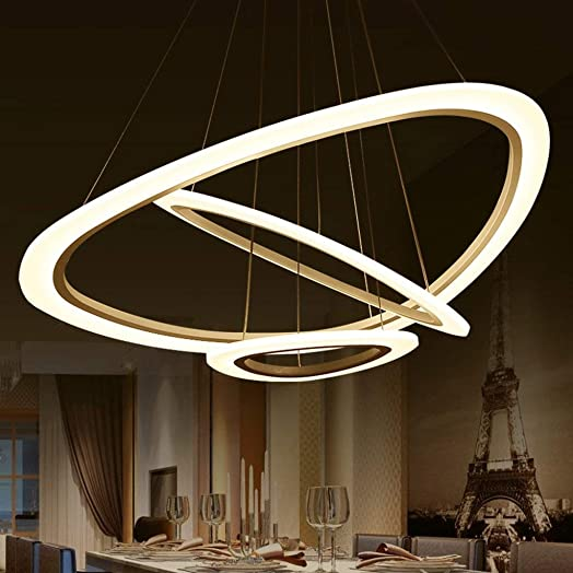 AOLI Led Circular Modern Chandeliers, Minimalist As Personalized Creative Restaurant Lounge Acrylic Chandelier Lights Mode-of-The-Art Chandelier,745234cm