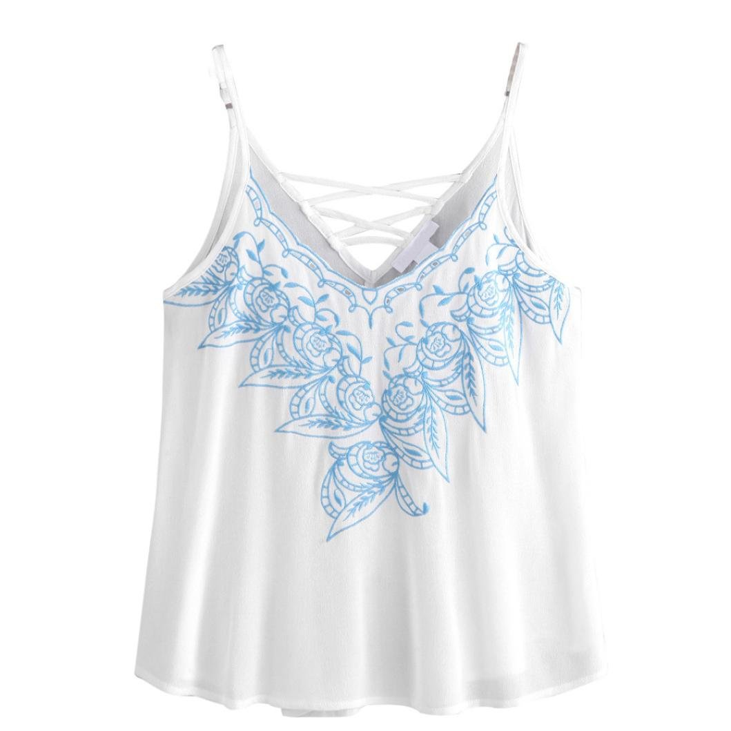 Bluester Women Vintage Floral Embroidered Vest Top/ Sleeveless Blouse