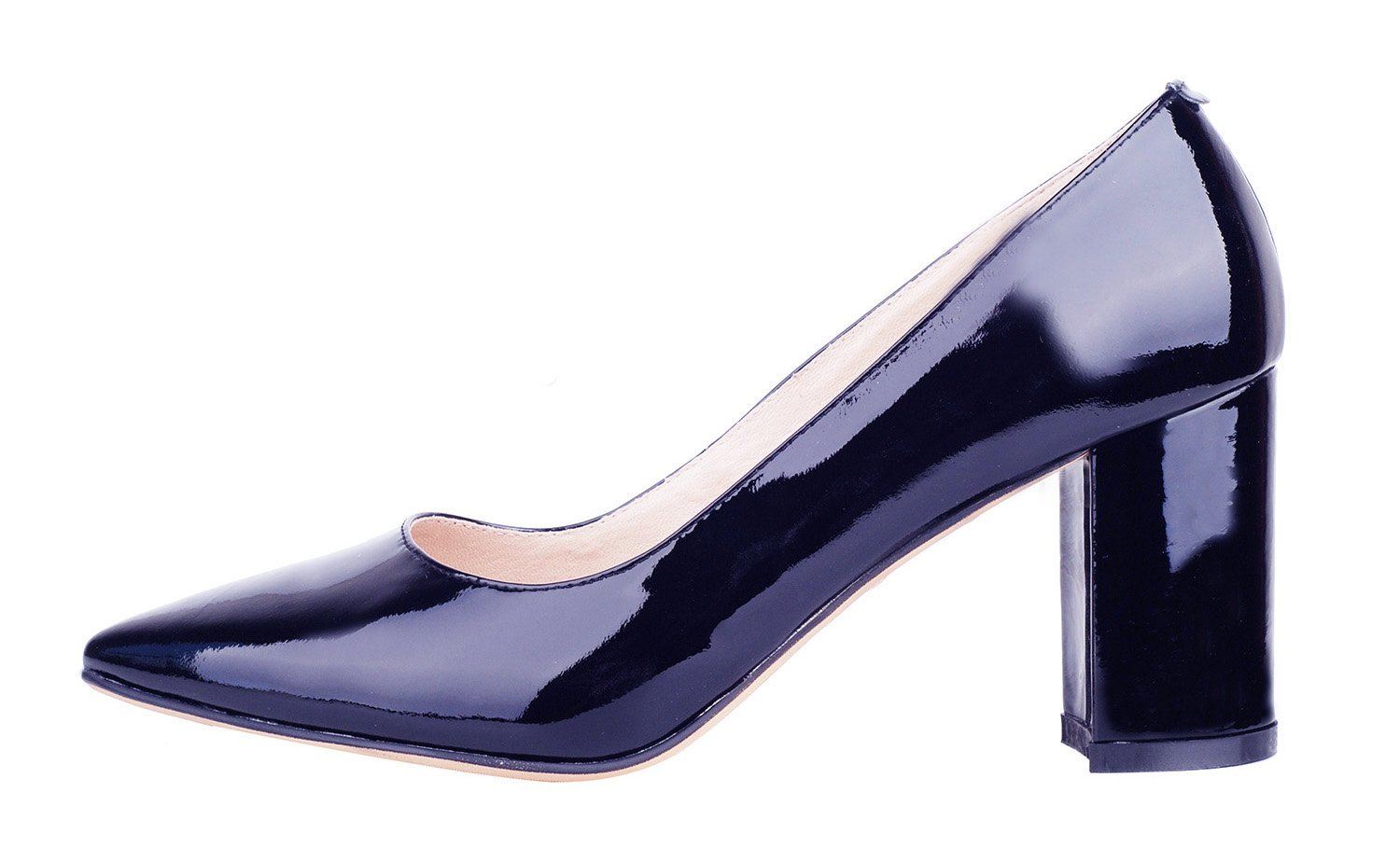 queenfoot Women's Mid Chunky Heel Pointed Toe Elegant Style Genuine Leather Comfort Dress Pumps Shoes Navy Patent 8 B(M) US