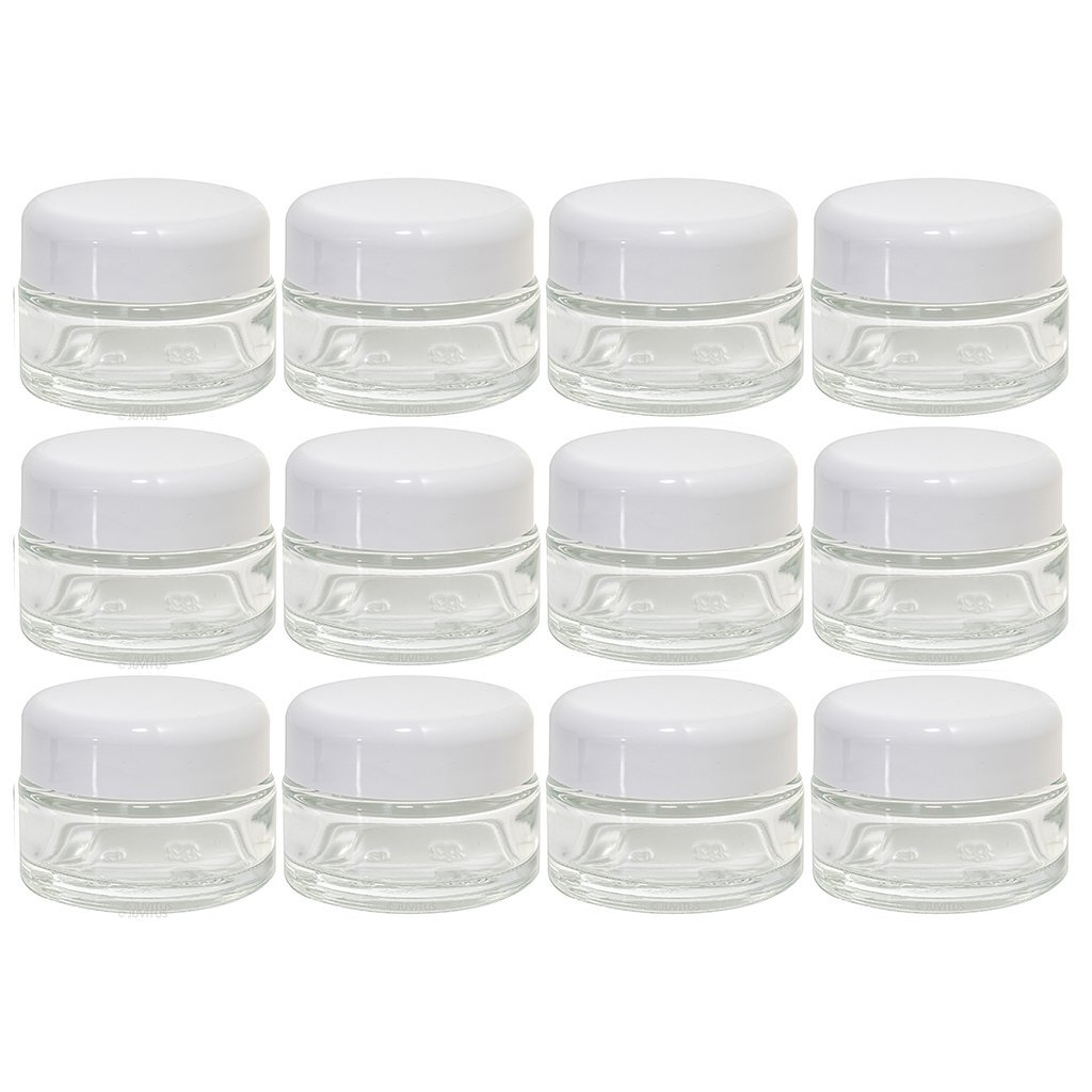 Clear Glass 0.50 oz 15 ml Thick Wall Balm Jars with White Dome Foam Lined Smooth Lids 12 Pack