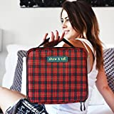 Makeup Bag - Travel Cosmetics Organizer - Train Case - With Multiple Compartments - Waterproof - Durable, Cute Stylish & Fun (Red Checkered)