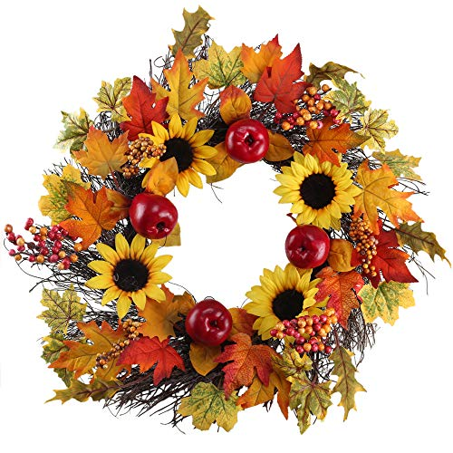 XYXCMOR 21'' Fall Door Wreath for Front Door Decor Handmade Artificial Sunflower & Red Delicious Apple Pumpkin Vine Garland Outdoor Home Wall Thanksgiving Harvest Day Decorations (Color49) -