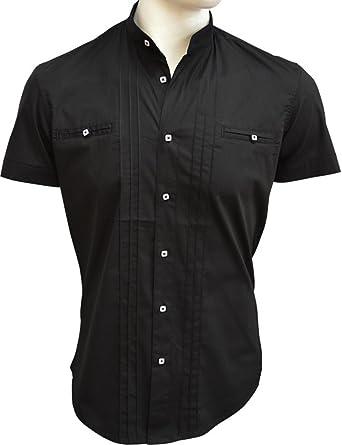 CARISMA Brandneu !!! Designer Kurzarm Hemd mit Stehkragen Uni CRM9006  Schwarz S f9c538b451