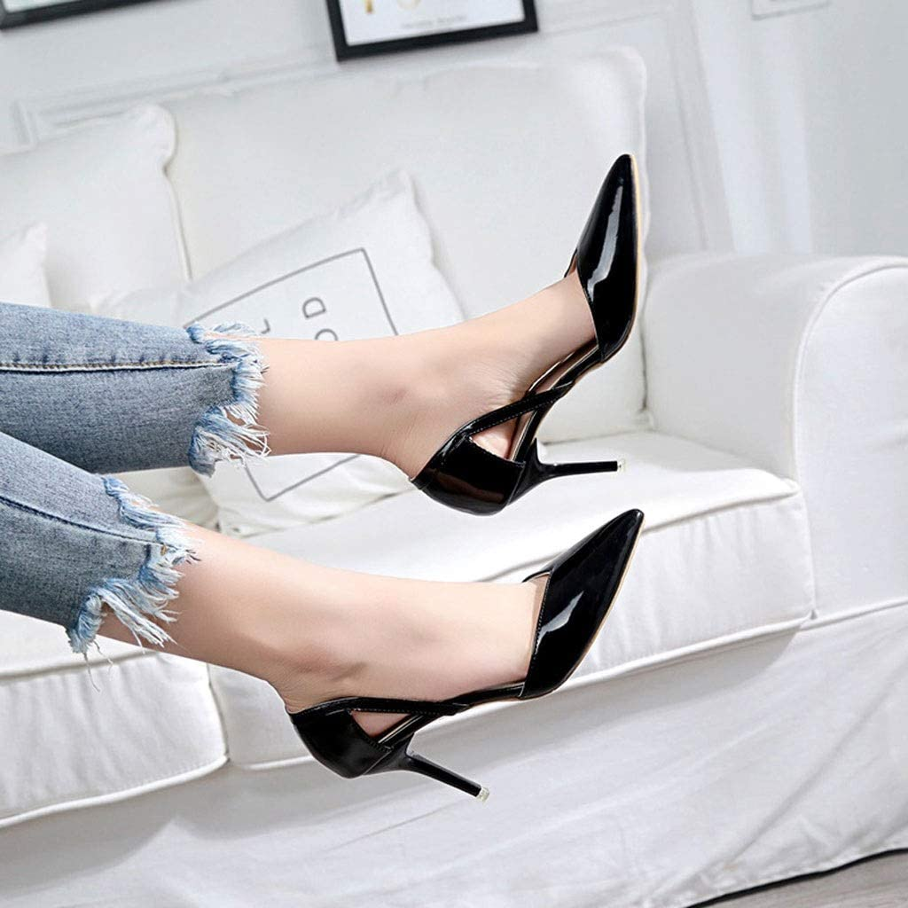 Color : A, Size : 6.5 US DCYU Pointed Stiletto High Heel Sandals Female Shallow Mouth Side Set Foot Sandals