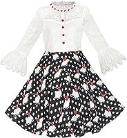 Sunny Fashion Girls Dress Lace Pearl Plum Blossom Elegant Princess Dress