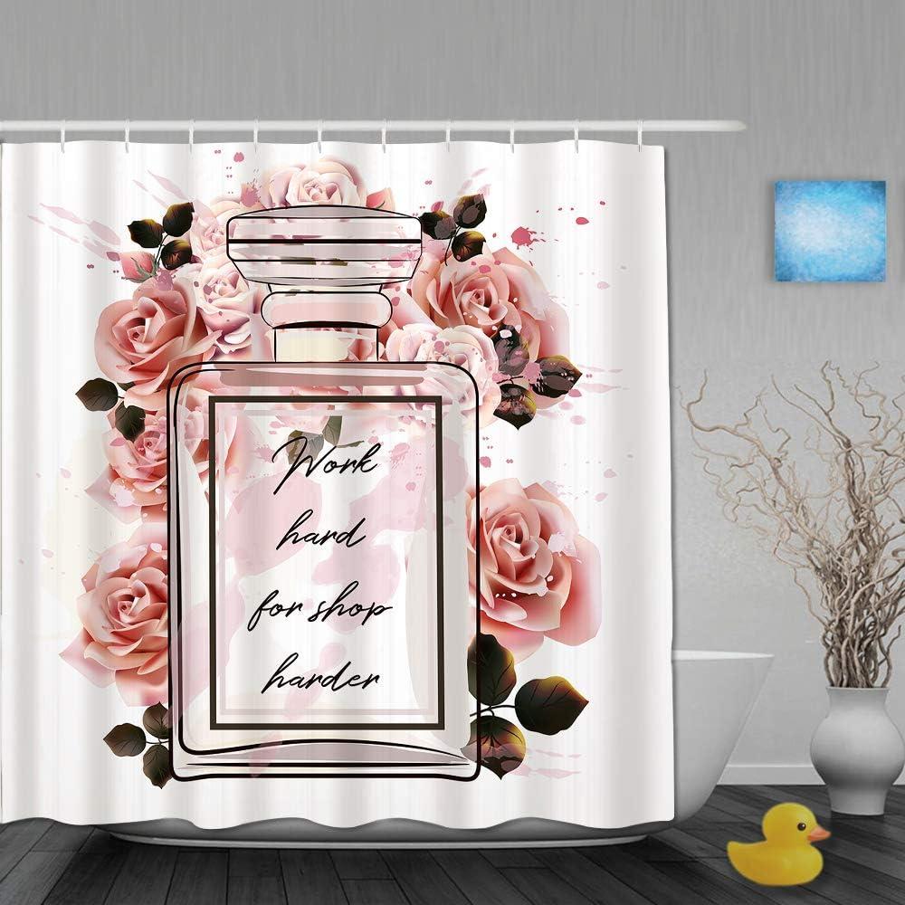 DAHALLAR Cortina de Ducha,Hermosa Botella de Cristal de Perfume Rosa de Moda y Rosas en Estilo Acuarela,Tejido de poliéster - con Gancho,180x180
