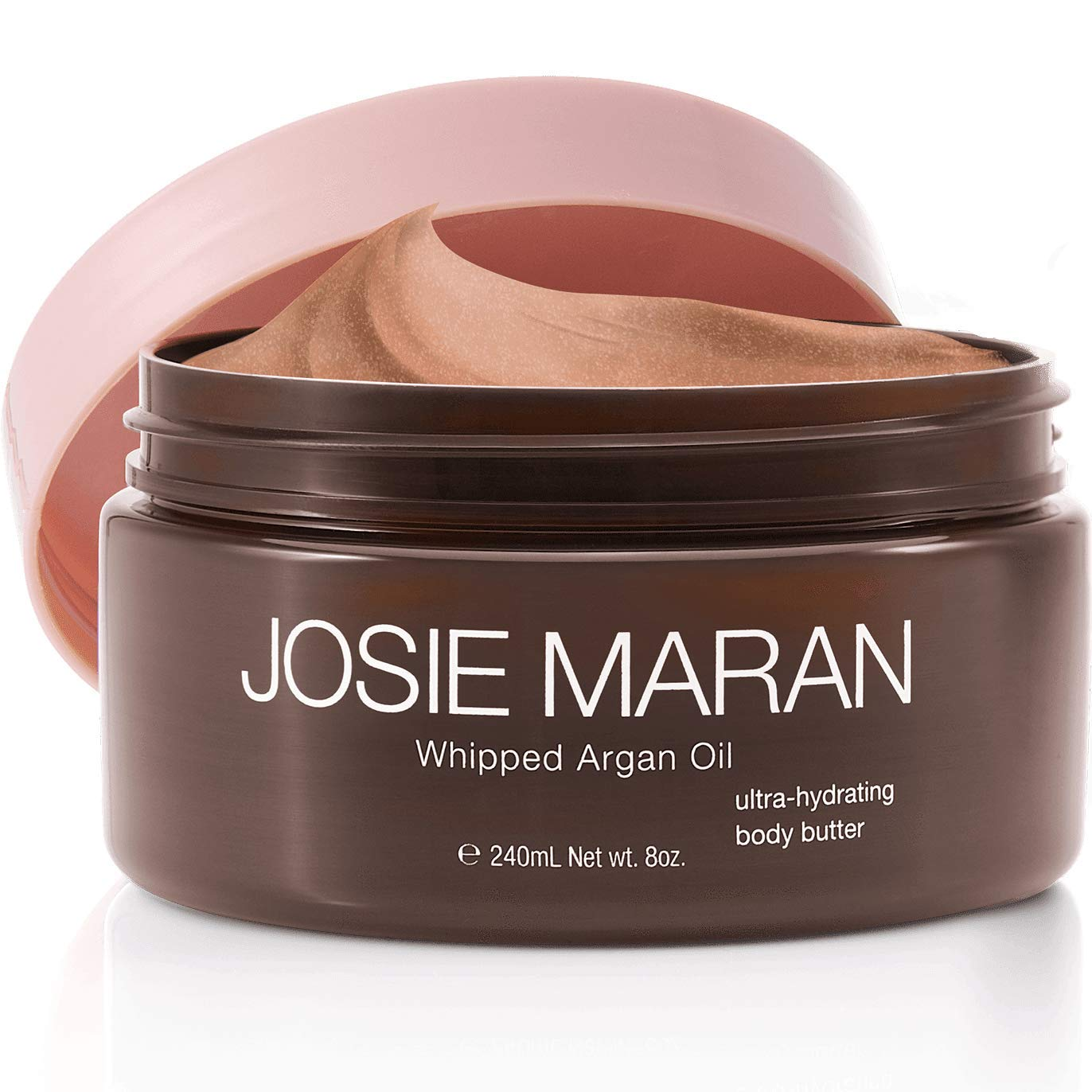 Josie Maran Whipped Argan Oil Illuminizing Body Butter - Restores Skin Softness and Improves Skin Texture - Light Bronze Shimmer (240ml/8oz, Vanilla Peach)