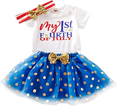 3PCS Infant Toddler Baby Girl 4th of July Outfits Ruffle Romper+Tutu Skirt+Bowknot Headband Independence Day Outfit Clothes