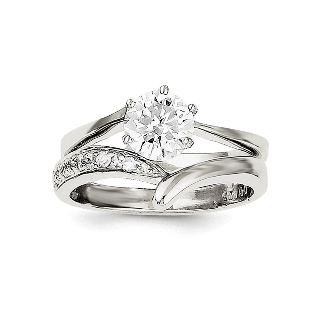 ICE CARATS 925 Sterling Silver 2 Piece Cubic Zirconia Cz Wedding Band Ring Size 6.00 Engagement Set Fine Jewelry Ideal Gifts For Women Gift Set From Heart
