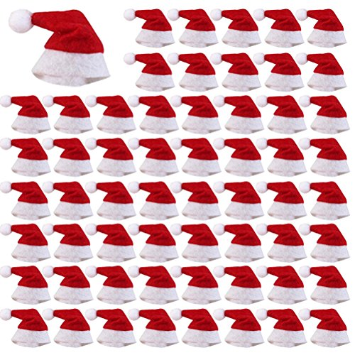 LONG7INES 60 Pcs Mini Christmas Hat for Lollipop
