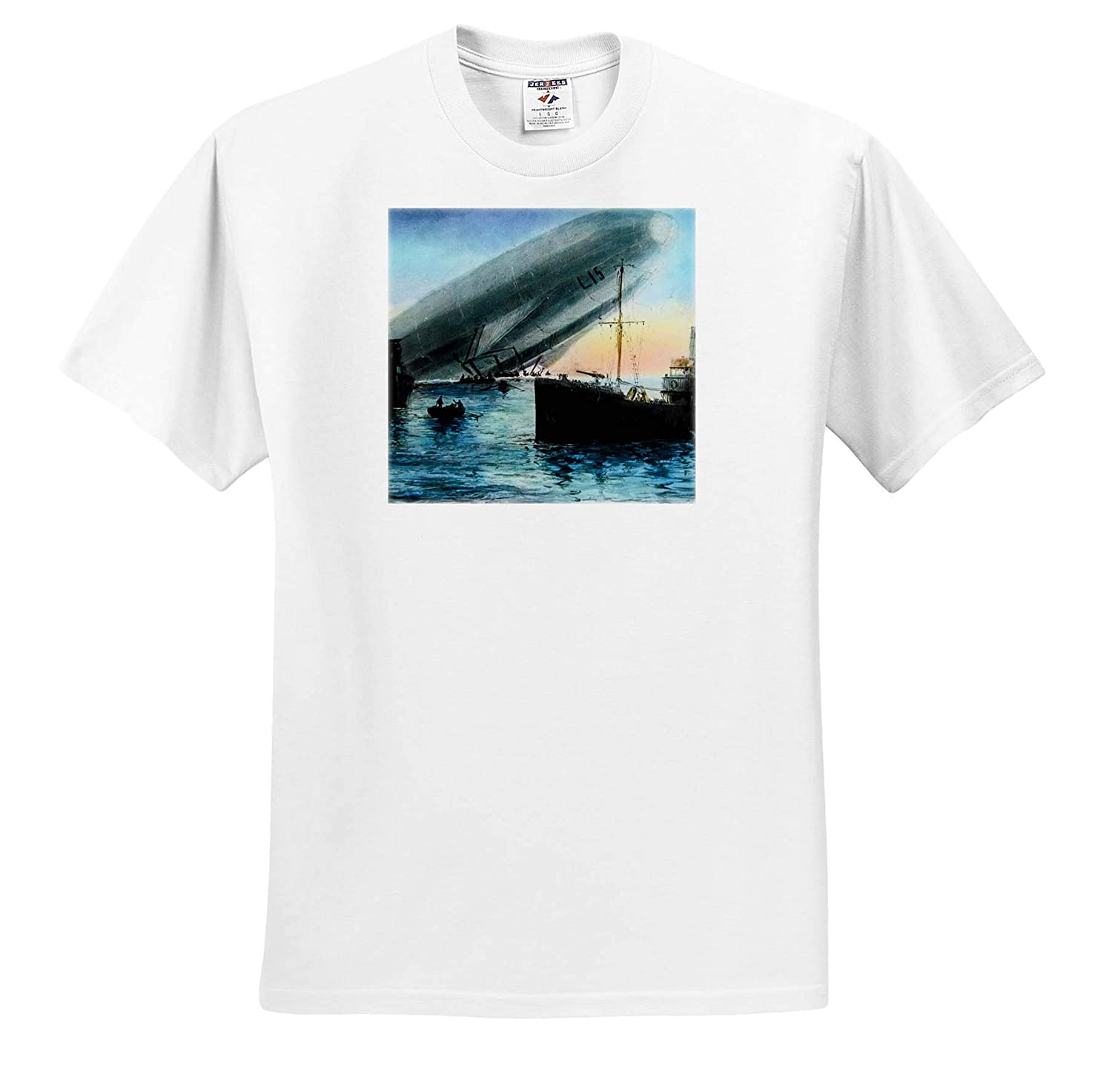3dRose Scenes from The Past T-Shirts Magic Lantern Zeppelin L15 Crashed in The Thames World War One Vintage