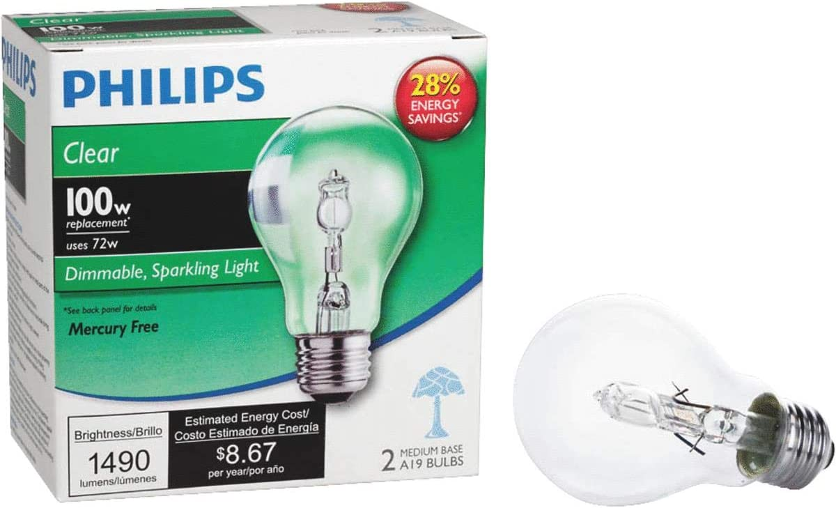 Philips 426049 72-watt A19 Dimmable Halogen Light Bulb 24-Pack Soft White