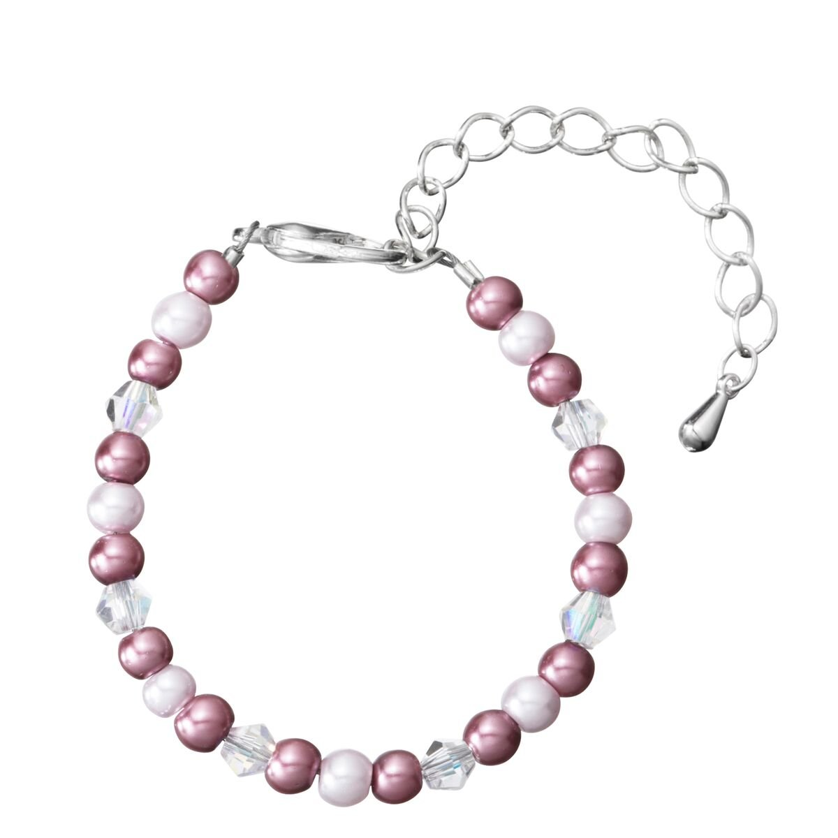 Pink and Grey Czech Glass Pearls and Crystals Child Keepsake Bracelet Gift with 2'' Extender (BPG05_L)