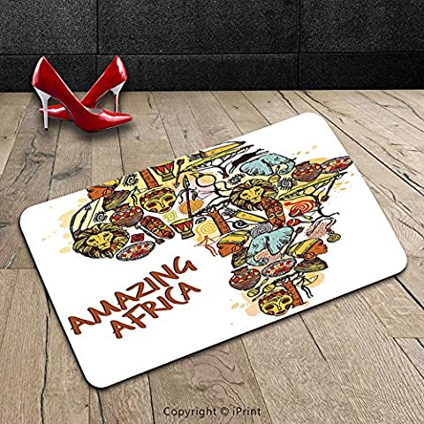Custom Machine-washable Door Mat African Decorations Collection Africa Map with Native Objects and Icons Tribal Mask and Mammals Graphic Travel Theme Multi Indoor/Outdoor Doormat Mat Rug (Africa Expedition)
