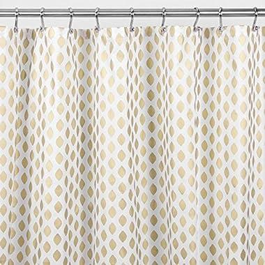 mDesign Diamond Fabric Shower Curtain - 72  x 72 , Gold/Metallic