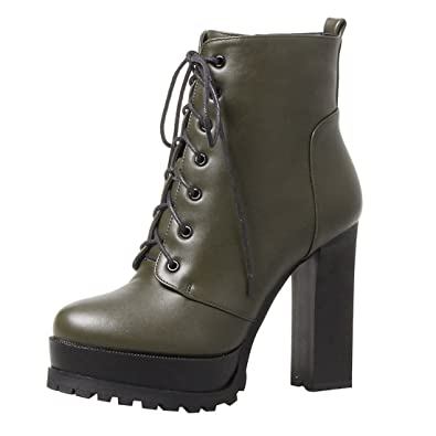 b34a64832aca35 YE Damen Ankle Boots Plateau High Heels Stiefeletten mit Schnürsenkel und  Blockabsatz 11cm Elegant Modern Schuhe