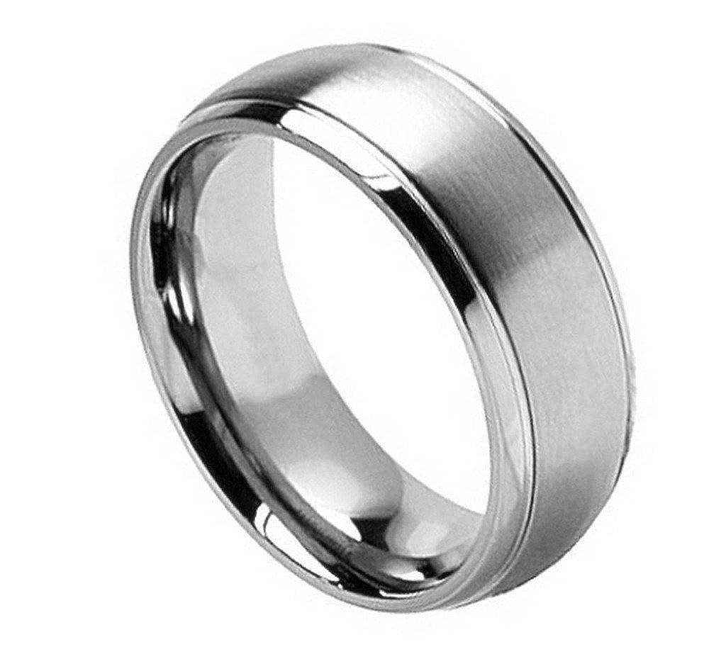Mens 8mm Titanium Ring Brushed Center Shiny Grooved Edge Wedding Band Titaniam Wedding Band