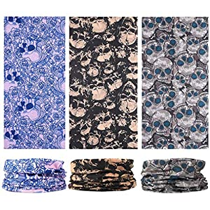 EAZZEA 6pcs Magic Wide Tube Face Mask,Neck Gaiter, Headwear, Sports Scarf, Skeleton Bandana, Balaclava, Headband for Women And Men