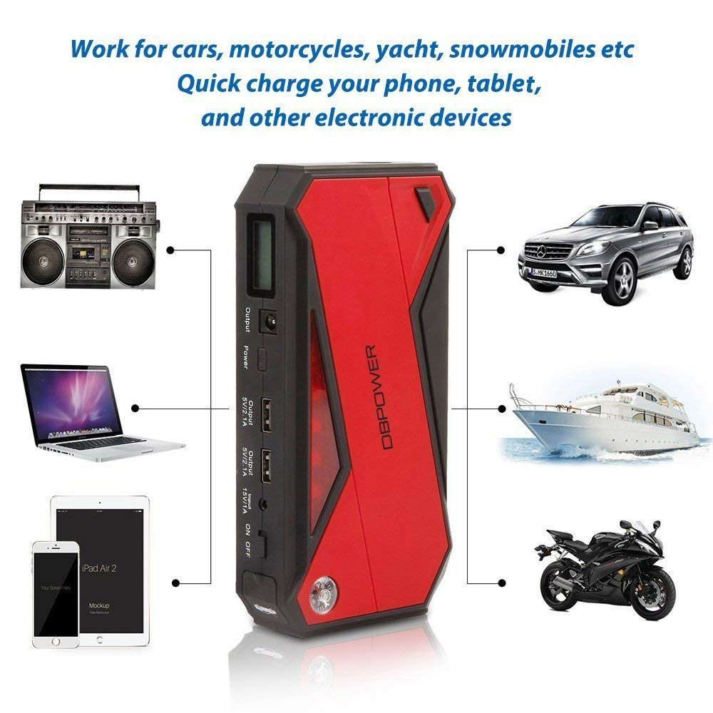 up to 6.5L Gas, 5.2L Diesel Engine Black//Red Battery Booster and Phone Charger with Smart Charging Port DBPOWER 600A 18000mAh Portable Car Jump Starter