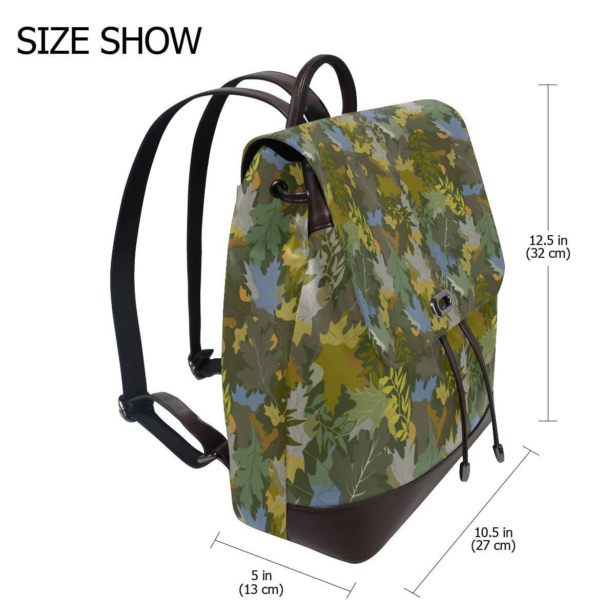 Unisex PU Leather Backpack Orange Army Jungle Camo Print Womens Casual Daypack Mens Travel Sports Bag Boys College Bookbag