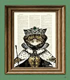 PRINCESS PRETTY KITTY royal cat with Emerald Tiara, Robes, and Scepter illustration beautifully upcycled dictionary page book art print