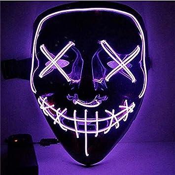 Sinwind Led Mascaras Halloween Led Máscaras Carnaval Mascaras Luces Led Neon Luminosas Máscaras De La Purga Craneo Esqueleto Mascaras Para Cosplay Grimace Festival Fiesta Show Morado Amazon Es Juguetes Y Juegos