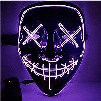 Sinwind LED Mascaras Halloween, LED Máscaras Carnaval, Mascaras Luces LED Neon Luminosas, Máscaras de la Purga, Craneo…