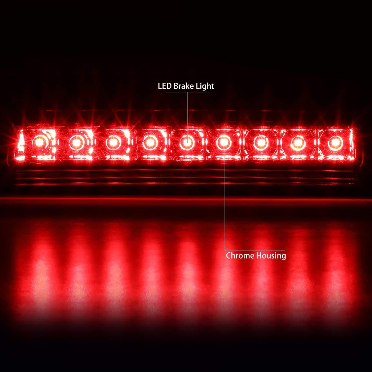 DNA Motoring 3BL-HRID06-LED-CH Rear Center High Mount Full LED 3rd Tail Brake Light Replacement