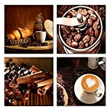 Home Art – Modern Art Giclee Canvas Prints Framed Canvas Wall Art for Home Decor Perfect 4 Panels Wall Decor Coffee Theme Photos Paintings for Living Room Bedroom Dining Room Bathroom Office Picture